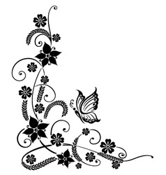 Black flowers with butterfly vector image