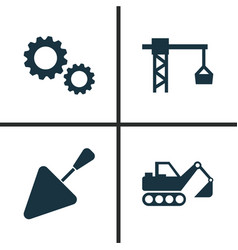 Building icons set collection of spatula digger vector