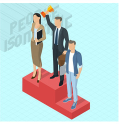Businessman at the first place on a podium vector