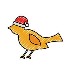 christmas bird with hat animal decoration ornament vector image