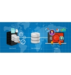 data business intelligence warehouse database vector image vector image