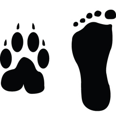 Dog and man footprints vector