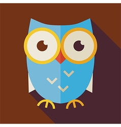 Flat Knowledge and Education Owl with long Shadow vector image vector image