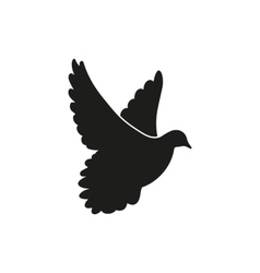 Flying black dove as symbol of peace vector image