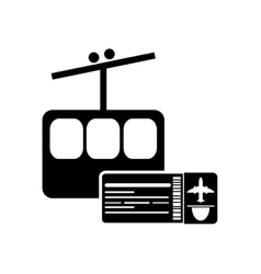 Funicular and boarding pass icon vector