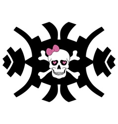 Hipster skull design for girls vector image