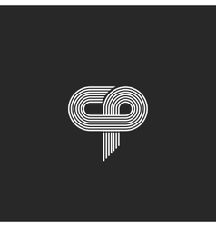 Initials logo cp letter parallel thin line vector