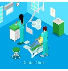 Isometric Dentist Cabinet Interior with Patient vector image
