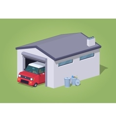 Low poly white garage and red car vector image