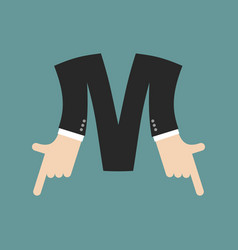 M letter businessman hand font it shows finger vector