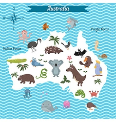 map of australia continent with animals vector image vector image
