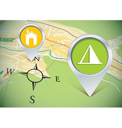 map with pins vector image