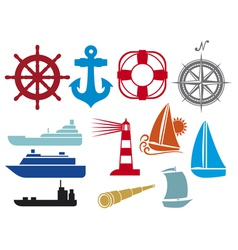 nautical and marine icons vector image vector image