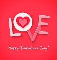 Paper love with heart over red vector image