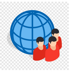 Planet and people isometric icon vector