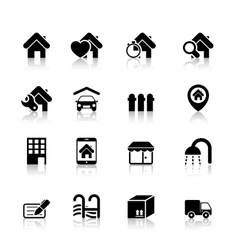 Real Estate Icons with reflection vector image vector image