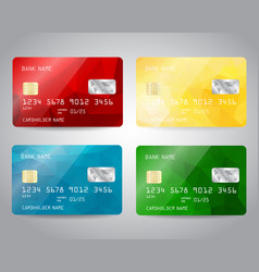 realistic detailed credit cards set vector image vector image