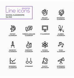 School classrooms - modern single line vector