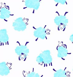 Seamless pattern with blue sheep vector