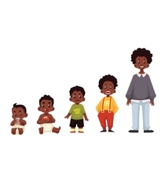 Set of black boys from newborn to infant toddler vector