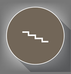 Stair down sign white icon on brown vector