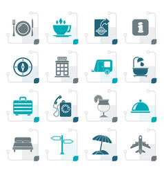 stylized traveling and vacation icons vector image