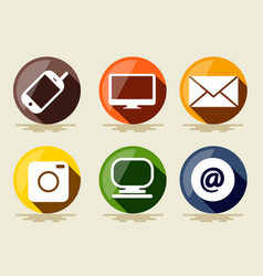 technology icons flat design computer envelope pc vector image vector image