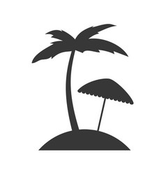 tree palm beach with umbrella vector image