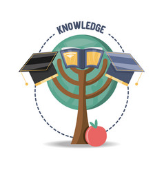 Tree with book and graduation hat and apple fruit vector
