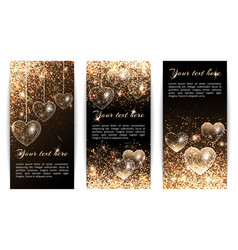 vertical banners with hearts vector image vector image