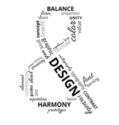 Word cloud about design vector image vector image