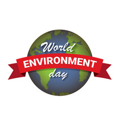 world environment day label vector image
