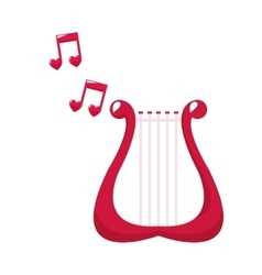 Cute harp lovely note music vector