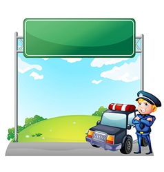 A policeman with his patrol car near the signage vector