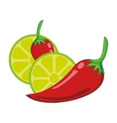 chili peper and lemon vector image