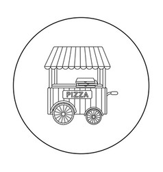 Pizza cart icon in outline style isolated on white vector