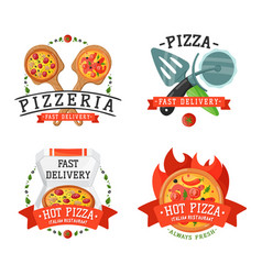 delivery pizza badge vector image