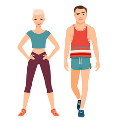Fitness sport style couple vector