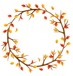 Autumn frame with branches of tree and yellow vector