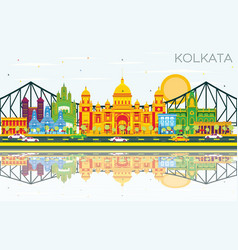 Kolkata skyline with color landmarks blue sky and vector