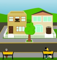 Town street view vector