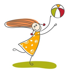 Happy little girl playing ball vector