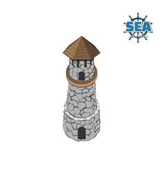 Pirate island with lighthouse vector