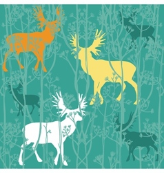 Seamless christmas pattern with deers in the vector