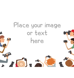 Many cameramans isolated on white background vector