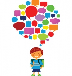 Child with speech bubbles vector