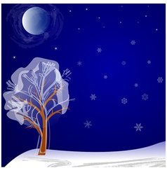 Lonely tree on a winter night under the moon vector