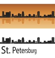 St Petersburg skyline in orange background vector image