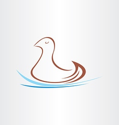 Stylized duck in watter design vector