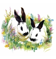 Watercolor rabbits in green grass vector image
